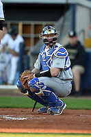 Indiana State Sycamores catcher Kaden Moore (12) looks to the dugout during a game against the Vanderbilt Commodores on February 20, 2015 at Charlotte Sports Park in Port Charlotte, Florida.  Vanderbilt defeated Indiana State 3-2.  (Mike Janes/Four Seam Images)