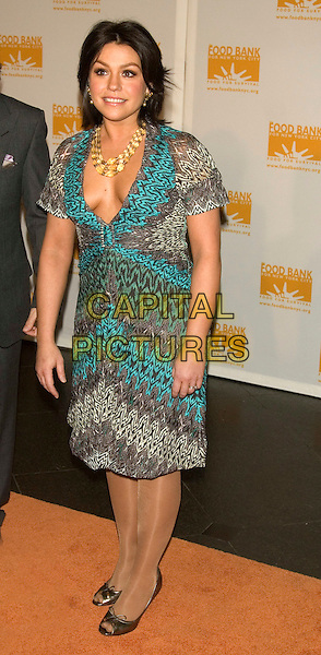 RACHAEL RAY.Food Bank for New York City's 5th Annual Can-Do Awards Dinner at Pier Sixty, Chelsea Piers, New York, NY, USA..April 7th, 2008 .full length rachel gold necklace grey gray blue turquoise pattern print dress low cut plunging neckline .CAP/LNC/TOM.©TOM/LNC/Capital Pictures.