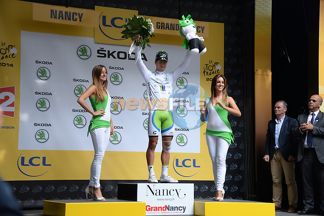 Peter Sagan (SVK) also retains the young rider's White Jersey at the end of Stage 7 of the 2014 Tour de France running 234.5km from Epernay to Nancy. 11th July 2014.<br /> Photo ASO/X.Bourgois/www.newsfile.ie