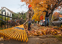 NWA Democrat-Gazette/BEN GOFF @NWABENGOFF<br /> Nash Courtney, 11, of Rogers helps rake up leaves Saturday, Nov. 3, 2018, at Nicole's House in Rogers. The Courtney and Suggs families were volunteering to do fall yardwork at the transitional living facility for women recovering from drug and alcohol addiction.