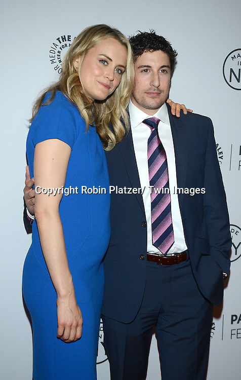 """Jason Biggs and Taylor Schilling attend the PaleyFest: Made in NY """"Orange Is the New Black""""  panel at the Paley Center for Media on October 2, 2013 in New York City."""