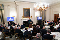 United States President Donald J. Trump makes remarks, February 10, 2020 at the White House Business Session with governors at the White House in Washington, DC during the National Governor's Association meetings. Credit: Chris Kleponis / Pool via CNP/AdMedia