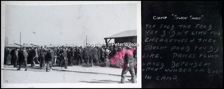 BNPS.co.uk (01202 558833)<br /> Pic: PeterWilson/BNPS<br /> <br /> The camp 'swap shop' where you could exchange food for cigarettes.<br /> <br /> A fascinating photo album has to come to light to reveal what went on inside a German POW camp - including stage shows in drag.<br /> <br /> The Stalag Luft IV B album was compiled by British prisoner David Courtney, of 102 Squadron, whose Halifax was shot down near Berlin on January 20, 1944.<br /> <br /> One of the photos shows the funeral of a British soldier who was assassinated by the German guards, although they have taken part in the ceremony by lifting their guns above the coffin.<br /> <br /> Another shows a theatre performance put on by inmates where the performers were dressed as women to keep up morale.