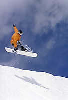 Man, Scenic, Active Lifestyle, Winter, Snowboarding, Snowboarder, Sports, Exercise, Training, Fitness, Extreme, Wilderness, Speed, Jumping, Air, Adventure, Action, Vacation. Brad Webster (MR 661). Backcountry Colorado United States Rocky Mountains, Summit