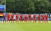 Belgian team pose for the hymns with Yunus Bahadir (2) , Bryan Limbombe (21) , Mitchy Ntelo (9) , Koni De Winter (4) , Ibe Hautekiet (16), Nick Shinton (12) , Amine Essabri (20) , Nicolas Raskin (18) , Samuel Asoma (7) , Loic Masscho (5) and Elias Sierra (17) during a friendly soccer game between the national teams Under19 Youth teams of Belgium and Germany on tuesday 8 th of September 2020  in Genk , Belgium . PHOTO SPORTPIX.BE | SPP | DAVID CATRY