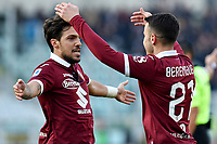 Alex Berenguer of Torino FC  celebrates with Simone Verdi after scoring the goal of 1-0 <br /> Torino 12/01/2020 Stadio Olimpico <br /> Football Serie A 2019/2020 <br /> FC Torino - Bologna  <br /> Photo Giuliano Marchisciano / Insidefoto