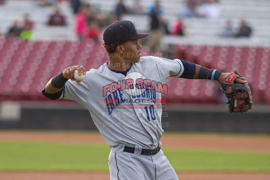 Lake County Captains infielder Claudio Bautista (10) warms up prior to a Midwest League game against the Wisconsin Timber Rattlers on June 3rd, 2015 at Fox Cities Stadium in Appleton, Wisconsin. Wisconsin defeated Lake County 3-2. (Brad Krause/Four Seam Images)