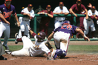Arizona State's Raoul Torrez scores against Clemson in Game 4 of the NCAA Division One Men's College World Series on Monday June 21st, 2010 at Johnny Rosenblatt Stadium in Omaha, Nebraska.  (Photo by Andrew Woolley / Four Seam Images)