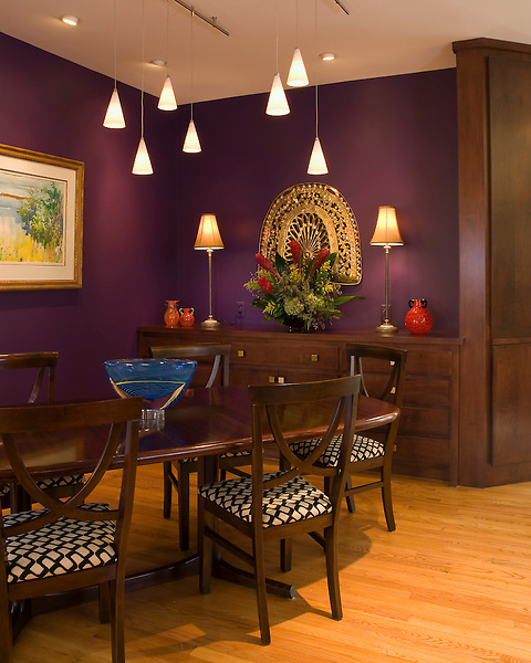 Superieur Purple Walls, Pendant Lights, Rich Brown Wood Table And Cabinet Set On A  Light