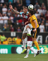 Burnley's Jeff Hendrick and Wolverhampton Wanderers' Ruben Neves<br /> <br /> Photographer Rachel Holborn/CameraSport<br /> <br /> The Premier League - Wolverhampton Wanderers v Burnley - Sunday 16th September 2018 - Molineux - Wolverhampton<br /> <br /> World Copyright &copy; 2018 CameraSport. All rights reserved. 43 Linden Ave. Countesthorpe. Leicester. England. LE8 5PG - Tel: +44 (0) 116 277 4147 - admin@camerasport.com - www.camerasport.com