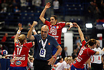 SERBIA, Belgrade: Serbia's caoch Sasa Boskovic and team players Sanja Rajovic, Andrea Lekic and Jelena Eric celebrate after handball Women's World Championship semi-final match between Poland and Serbia in Belgrade, Serbia on Friday, December 20, 2013. (credit image & photo: Pedja Milosavljevic / STARSPORT / +318 64 1260 959 / thepedja@gmail.com)