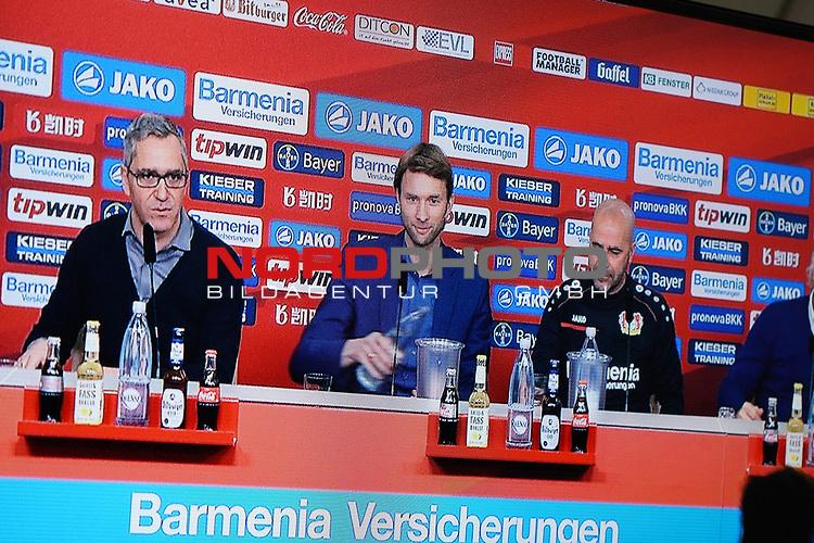 04.01.2019, BayArena, Leverkusen, GER, 1. FBL,  Bayer 04 Leverkusen PK Trainerwechsel,<br />  <br /> DFL regulations prohibit any use of photographs as image sequences and/or quasi-video<br /> <br /> im Bild / picture shows: <br /> erste Pressekonferenz von Peter Bosz Trainer / Headcoach (Bayer 04 Leverkusen), li Dirk Mesch Pressesprecher (Bayer 04 Leverkusen),  SIMON ROLFES Direktor Sport (Bayer 04 Leverkusen),  ganz re Rudi Völler/ Voeller Geschaeftsfuehrer Sport (Bayer 04 Leverkusen), <br /> <br /> Foto © nordphoto / Meuter