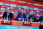 04.01.2019, BayArena, Leverkusen, GER, 1. FBL,  Bayer 04 Leverkusen PK Trainerwechsel,<br />  <br /> DFL regulations prohibit any use of photographs as image sequences and/or quasi-video<br /> <br /> im Bild / picture shows: <br /> erste Pressekonferenz von Peter Bosz Trainer / Headcoach (Bayer 04 Leverkusen), li Dirk Mesch Pressesprecher (Bayer 04 Leverkusen),  SIMON ROLFES Direktor Sport (Bayer 04 Leverkusen),  ganz re Rudi V&ouml;ller/ Voeller Geschaeftsfuehrer Sport (Bayer 04 Leverkusen), <br /> <br /> Foto &copy; nordphoto / Meuter