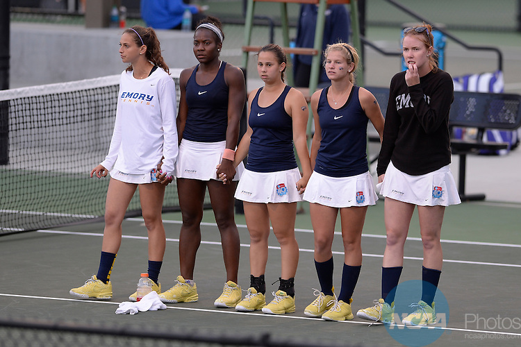 21 MAY 2014:  The Emory University tennis team looks on during the Division III Women's Tennis Championship held at the Biszantz Family Tennis Center in Claremont, CA.  Emory defeated Amherst 5-1 to win the national title.  Justin Tafoya/NCAA Photos
