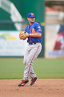 St. Lucie Mets third baseman David Thompson (23) throws to first during a game against the Fort Myers Miracle on August 9, 2016 at Hammond Stadium in Fort Myers, Florida.  St. Lucie defeated Fort Myers 1-0.  (Mike Janes/Four Seam Images)