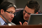 Nevada Assemblyman Andrew Martin, D-Las Vegas, left, and Wesley Duncan, R-Las Vegas, work in committee at the Legislative Building in Carson City, Nev., on Wednesday, Feb. 13, 2013..Photo by Cathleen Allison