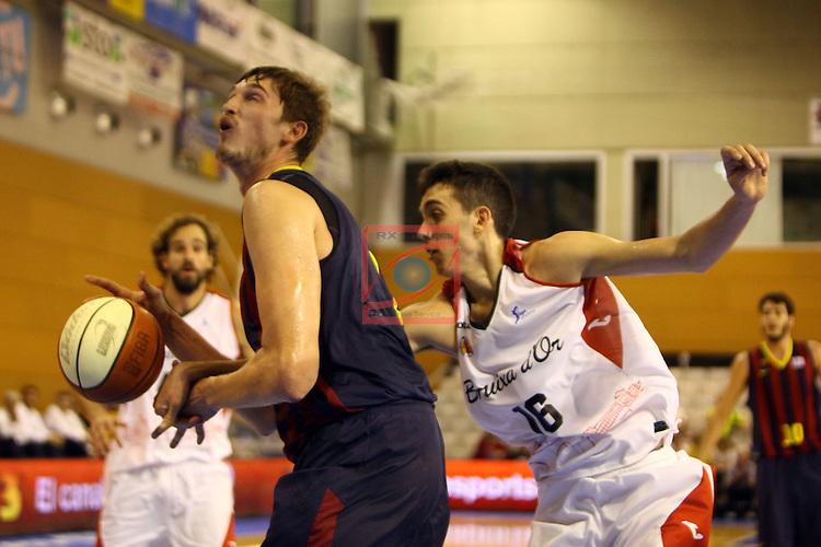 Regal XXXV Llia Nacional Catalana ACB 2014-Semifinals.<br /> FC Barcelona vs La Bruixa d'Or Manresa: 82-66.<br /> Tibor Pleiss vs Marc Garcia.