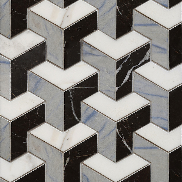 Francois, a handmade mosaic shown in honed Blue Macauba, honed Saint Laurent and polished Calacatta Tia, is part of the Illusions™ Collection by Sara Baldwin Designs for New Ravenna.