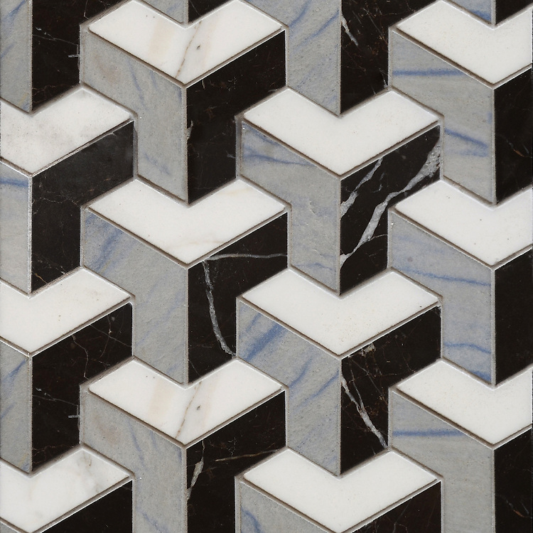 Francois, a waterjet mosaic shown in honed Blue Macauba, honed Saint Laurent and polished Calacatta Tia, is part of the Illusions® collection by Sara Baldwin for New Ravenna.