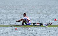 Brandenburg. GERMANY.<br /> CRO M1X. Damir MARTIN,  2016 European Rowing Championships at the Regattastrecke Beetzsee<br /> <br /> Saturday  07/05/2016<br /> <br /> [Mandatory Credit; Peter SPURRIER/Intersport-images]