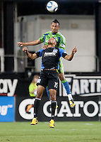 Tyrone Marshall heads the ball above Ryan Johnson. The Seattle Sounders defeated the San Jose Earthquakes 1-0 in the second annual Heritage Cup at Buckshaw Stadium in Santa Clara, California on July 31st, 2010.