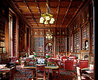 The Lords' Library extends over several ornately panelled rooms