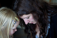 Polish mom and Daughter having a serious conversation age 32 and 4. Zawady Central Poland