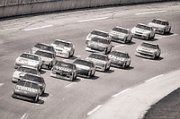 Sterling Marlin, #22 Ford Thunderbird, leads a pack of cars during the DieHard 500, NASCAR Winston Cup race, Talladega Superspeedway, July 26, 1992.  (Photo by Brian Cleary/bcpix.com)