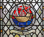 Church of Saint Mary, Chediston, Suffolk, England, UK stained glass window detail of Dunwich by Margaret Edith Aldrich Rope 1947