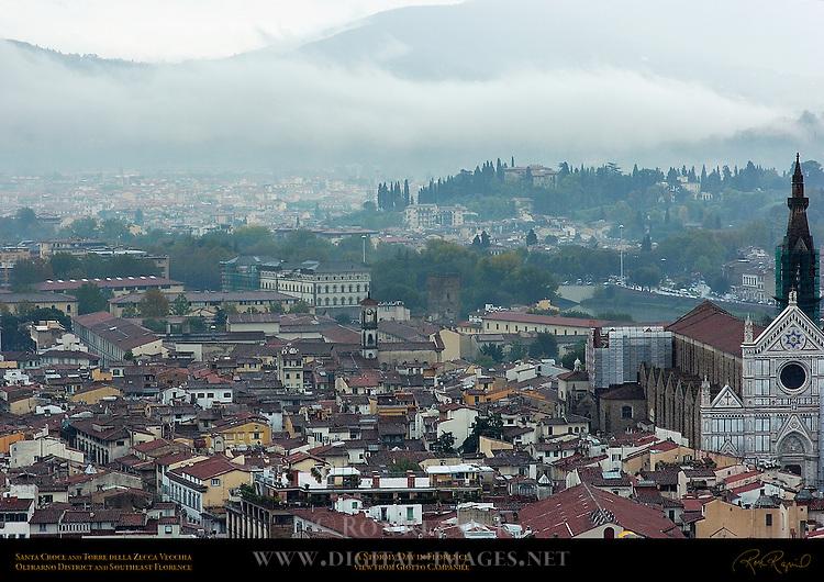 Stormy Day in Florence Santa Croce Torre della Zecca Vecchia Chiesa Oltrarno Southeast Florence