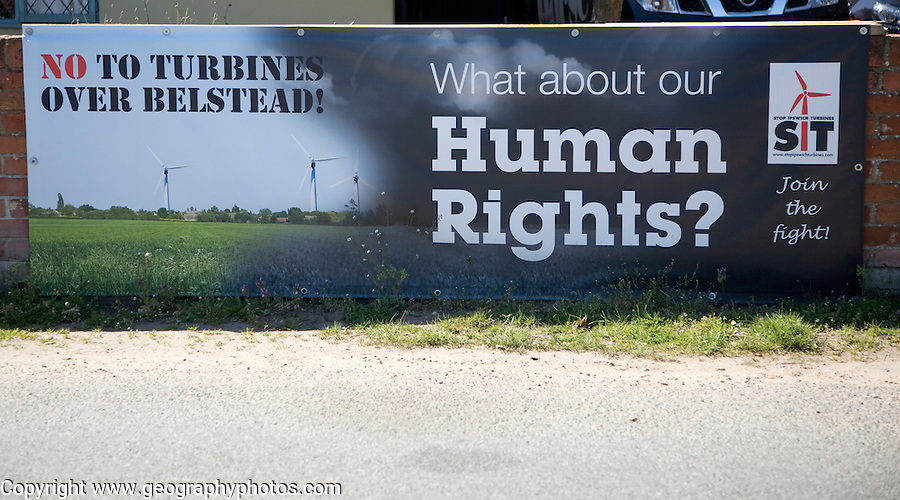 Anti wind turbine protest banner at Belstead, Suffolk, England