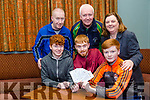 Niamh Burke has won 4 Premium Level Tickets for the Aviva Stadium to see the World Cup Qualifier Ireland V Wales in the Tralee International Chidren's Game Raffle Tickets Draw. Pictured front l-r Adam Burke, Dillon Burke, Matthew Burke, Back l-r Maurice Burke,  Mike Culloty, Tralee International Chidren's Game Niamh Burke