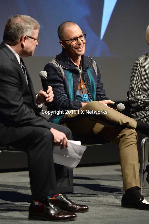 """NEW YORK - APRIL 7: Sam Rockwell (center) attends the Q&A after the screening of FX's """"Fosse Verdon"""" presented by FX Networks, Fox 21 Television Studios, and FX Productions at the Museum of Modern Art on April 7, 2019 in New York City. (Photo by Anthony Behar/FX/PictureGroup)"""