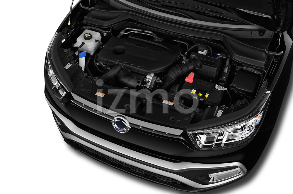 Car stock 2017 Ssangyong XLV Sapphire 5 Door SUV engine high angle detail view