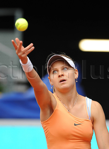 09 05 2010   Madrid. Lucia Safarova of Czech serves A Ball to  Sharapova of Russia during their First Round Match AT The Madrid WTA Tennis Open in Madrid Spain ON May 9 2010 Safarova Won 2 0