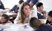 16 June 2017 - Princess Kate, Duchess of Cambridge, Patron of the 1851 Trust, Patron of the 1851 Trust, reacts as she listens to children during a lesson which focused on plastic in the sea at the charity's final Land Rover BAR Roadshow at the Docklands Sailing and Watersports Centre in London. Photo Credit: ALPR/AdMedia
