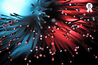 Blue and red light from fiber optic (Licence this image exclusively with Getty: http://www.gettyimages.com/detail/96354153 )