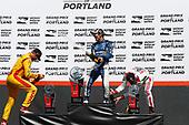 Ryan Hunter-Reay, Andretti Autosport Honda, Takuma Sato, Rahal Letterman Lanigan Racing Honda, Sébastien Bourdais, Dale Coyne Racing with Vasser-Sullivan Honda, podium, champagne