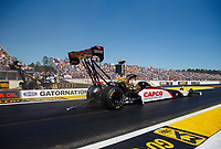 Mar 19, 2017; Gainesville , FL, USA; NHRA top fuel driver Steve Torrence (near) races alongside Tony Schumacher during the Gatornationals at Gainesville Raceway. Mandatory Credit: Mark J. Rebilas-USA TODAY Sports