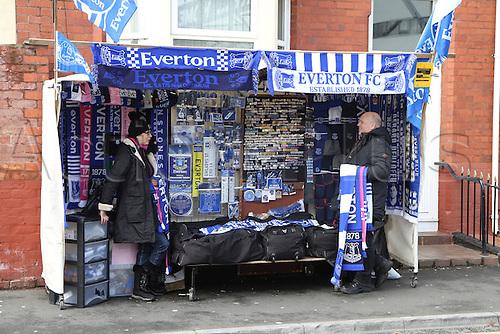 05.03.2016. Goodison Park, Liverpool, England. Barclays Premier League. Everton versus West Ham. Merchandise sellers getting ready