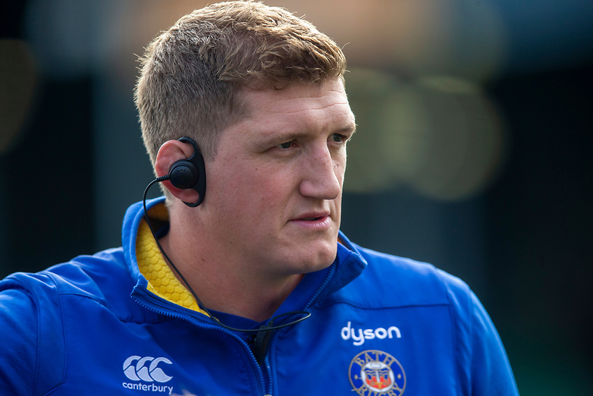 Bath Rugby's Head Coach Stuart Hooper<br /> <br /> Photographer Bob Bradford/CameraSport<br /> <br /> Premiership Rugby Cup Round Three - Bath Rugby v Leicester Tigers - Saturday 5th October 2019 - The Recreation Ground - Bath<br /> <br /> World Copyright © 2018 CameraSport. All rights reserved. 43 Linden Ave. Countesthorpe. Leicester. England. LE8 5PG - Tel: +44 (0) 116 277 4147 - admin@camerasport.com - www.camerasport.com