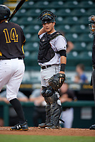 Jupiter Hammerheads catcher Chris Hoo (18) during a game against the Bradenton Marauders on May 25, 2018 at LECOM Park in Bradenton, Florida.  Jupiter defeated Bradenton 3-2.  (Mike Janes/Four Seam Images)