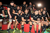 PRETORIA, SOUTH AFRICA - OCTOBER 06: New Zealand All Blacks celebrate their win during the Rugby Championship match between South Africa Springboks and New Zealand All Blacks at Loftus Versfeld Stadium. on October 6, 2018 in Pretoria, South Africa. Photo: Steve Haag / stevehaagsports.com