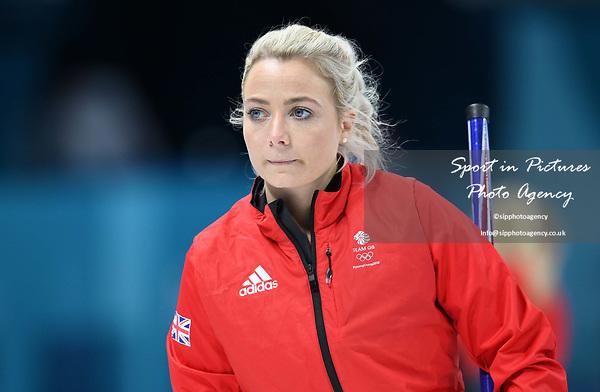 Anna Sloan (GBR). Womens Curling training. Pyeongchang2018 winter Olympics Gangneung curling centre. Gangneung. Republic of Korea. 12/02/2018. ~ MANDATORY CREDIT Garry Bowden/SIPPA - NO UNAUTHORISED USE - +44 7837 394578