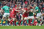 Lock Alun Wyn Jones drives Wales forward.<br /> RBS 6 Nations<br /> Wales v Ireland<br /> Millennium Stadium<br /> 14.03.15<br /> &copy;Steve Pope - SPORTINGWALES