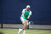 June 16th 2017, Nottingham, England; ATP Aegon Nottingham Open Tennis Tournament day 5;  Backhand from Bjorn Fratangelo of USA who lost in the quarter final to Marius Copil of Romania