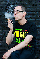 Reporter Harry Wallop smokes a joint after a Colorado Cannabis Tour in Denver, Colorado, Friday, September 30, 2016. <br /> <br /> Photo by Matt Nager