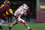 Wisconsin Badgers tight end Troy Fumagalli (81) carries the ball during an NCAA College Big Ten Conference football game against the Minnesota Golden Gophers Saturday, November 25, 2017, in Minneapolis, Minnesota. The Badgers won 31-0. (Photo by David Stluka)
