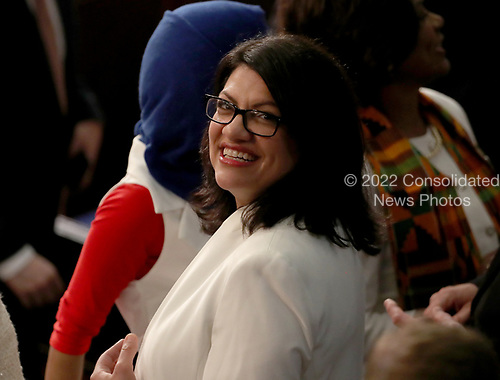 United States Representative Rashida Tlaib (Democrat of Michigan) on the floor prior to US President Donald J. Trump delivering his second annual State of the Union Address to a joint session of the US Congress in the US Capitol in Washington, DC on Tuesday, February 5, 2019.<br /> Credit: Alex Edelman / CNP
