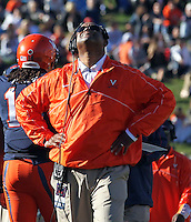 Virginia Cavaliers head coach Mike London  reacts to one of many misplays during the game against Maryland at Scott Stadium in Charlottesville, VA. Maryland defeated Virginia 27-20.